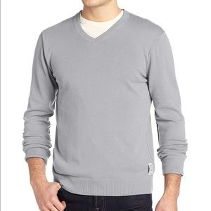 Calvin Klein V-Neck Gray Sweatshirt - Large